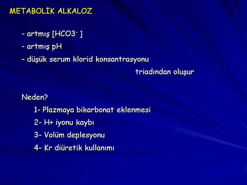 METABOLİK ALKALOZ - artmış [HCO3- ] - artmış pH. - düşük serum klorid konsantrasyonu. triadından oluşur.